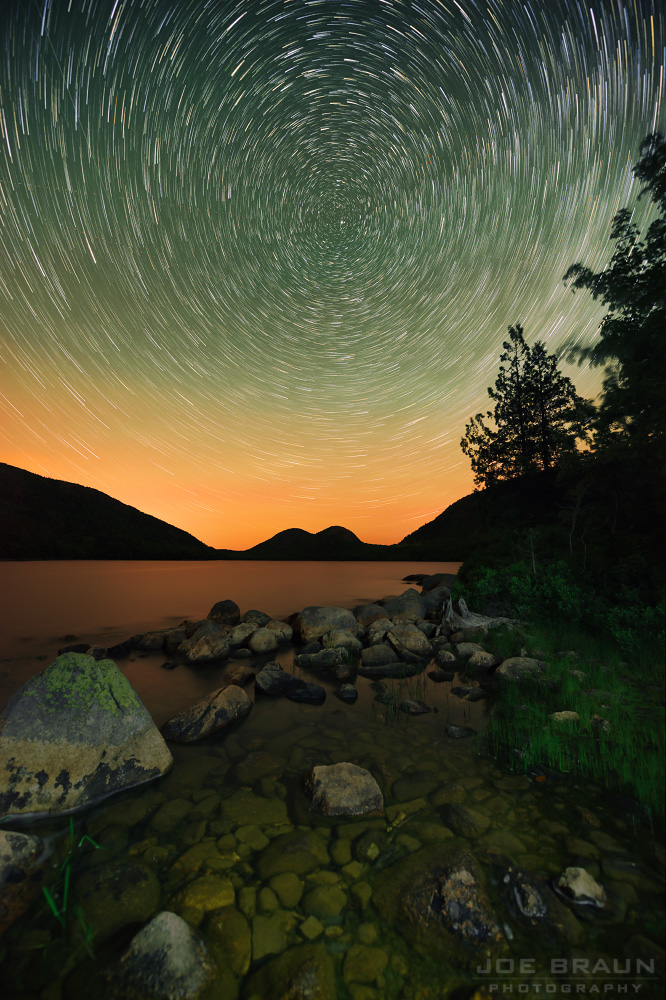 Jordan Pond startrails photo (Acadia National Park) -- © 2014 Joe Braun Photography