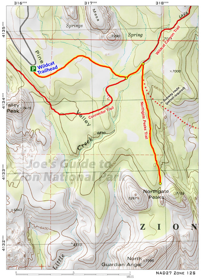 Joes Guide To Zion National Park Maps And GPS Coordinates - Map of zion national park