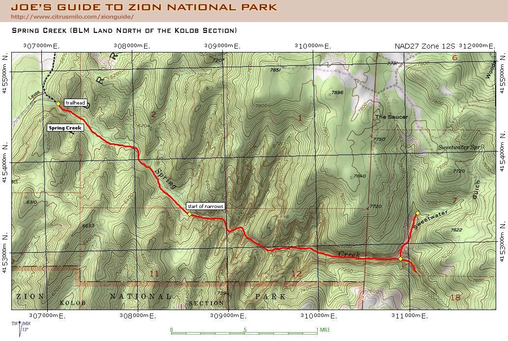 Joes Guide To Zion National Park Spring Creek Topo Map