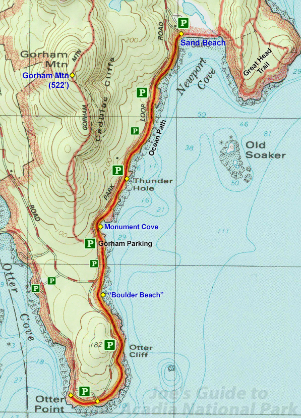 Ocean Park Maine Map.Joe S Guide To Acadia National Park Ocean Path Hiking Guide
