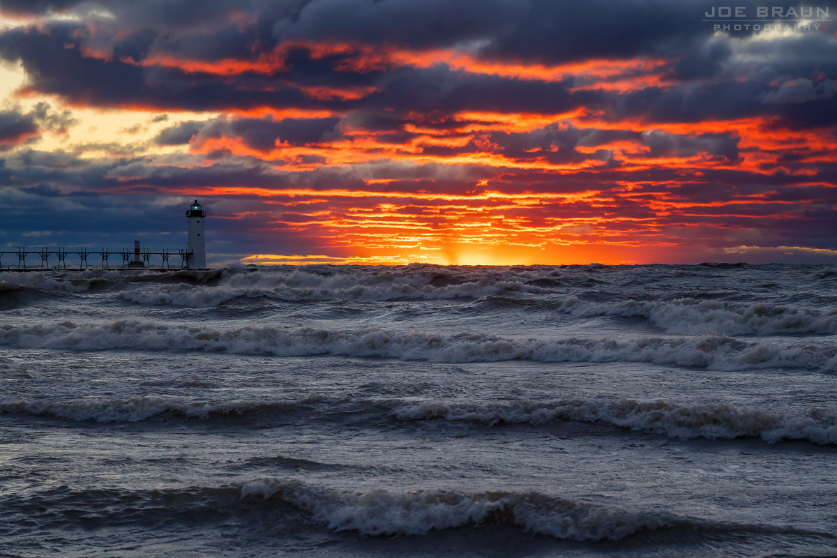Manistee Lighthouse gale-force sunset (Manistee, Michigan) -- © 2018 Joe Braun Photography