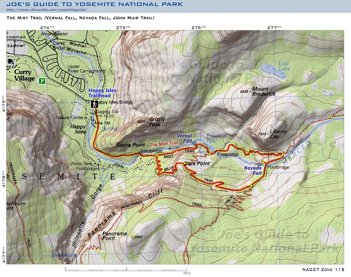 Joes Guide To Yosemite National Park Mist Trail Topo Map - Topo trail maps