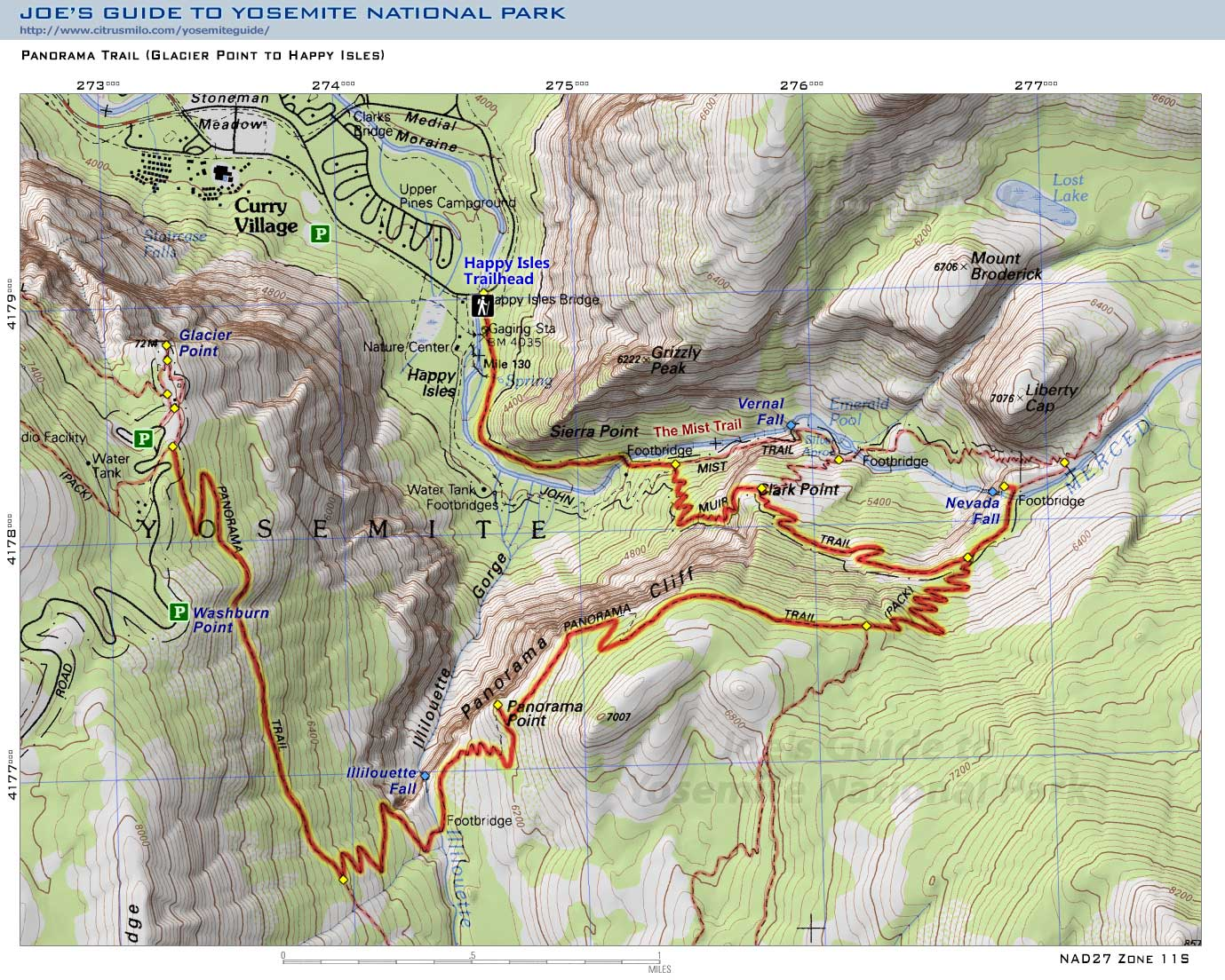 Joe S Guide To Yosemite National Park Panorama Trail Topo Map