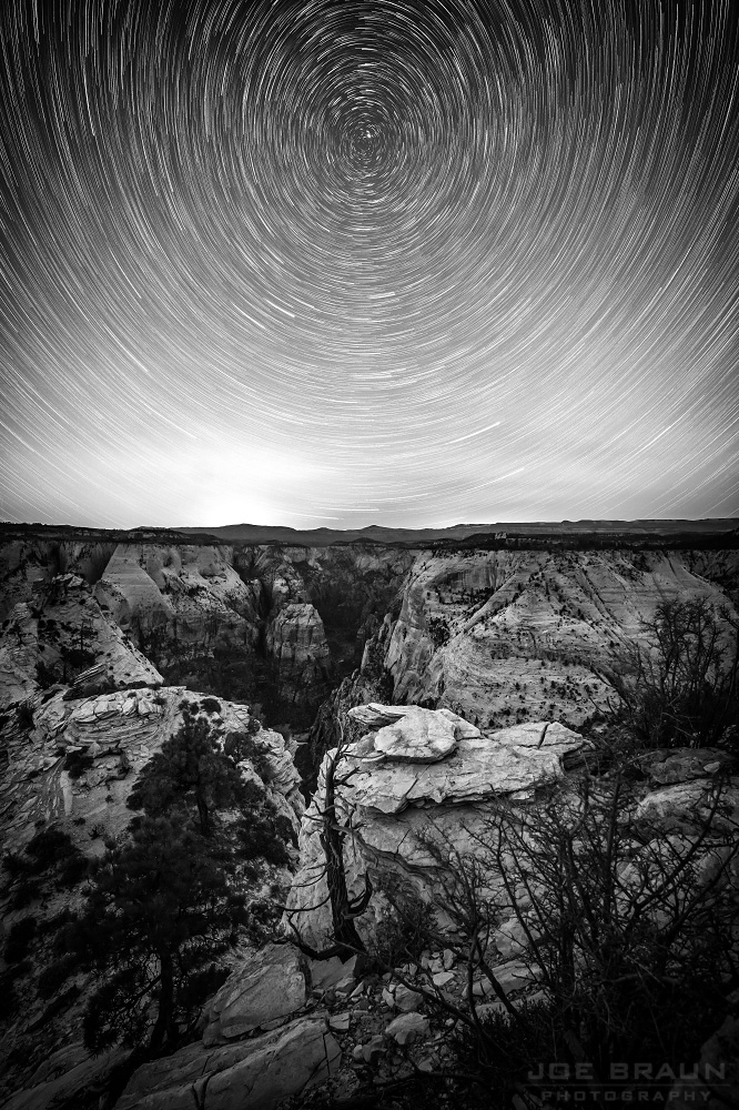 Star Trails above dark Zion Canyon (Zion National Park) -- © 2013 Joe Braun Photography