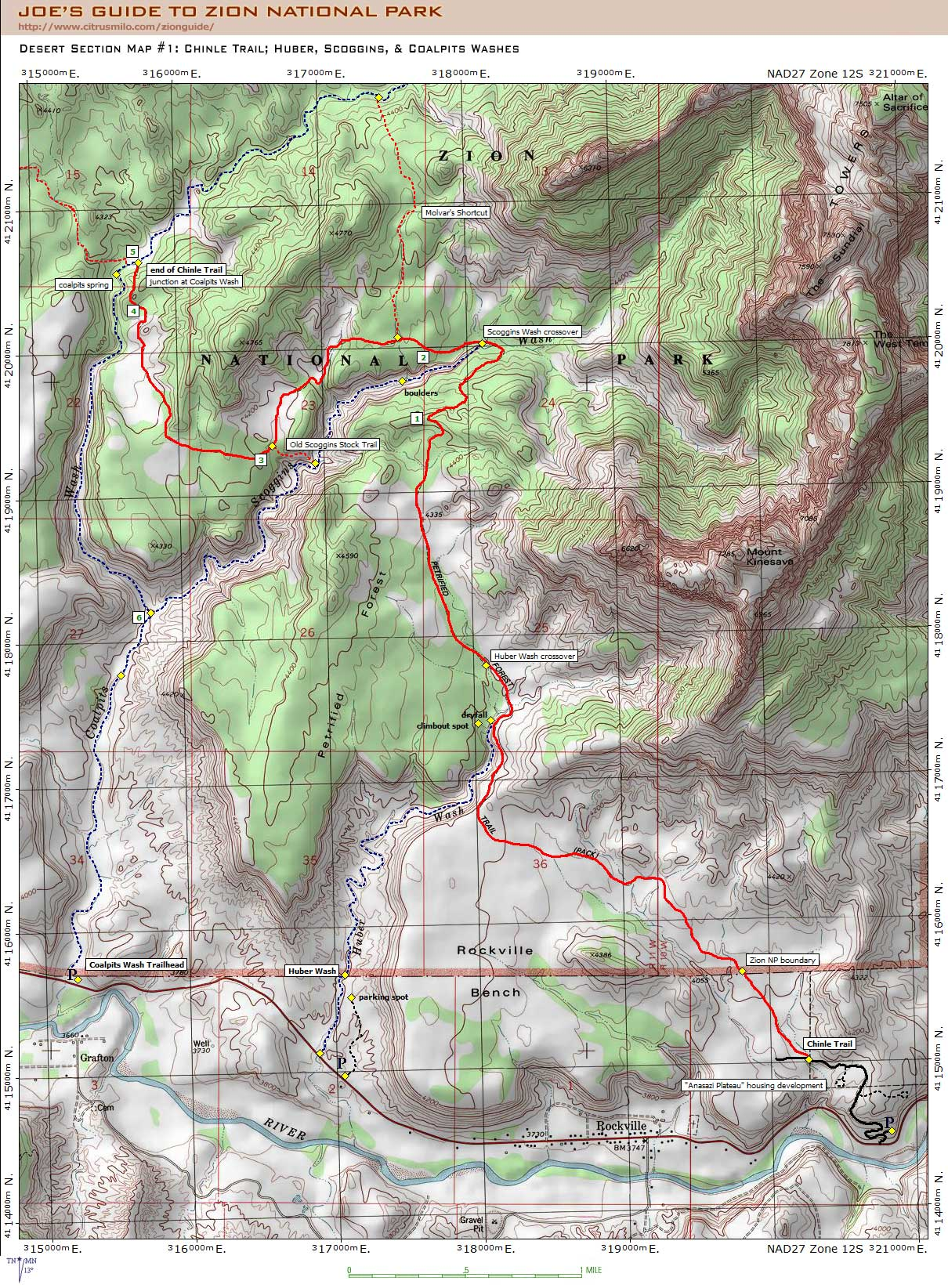 Joe's Guide to Zion National Park - Chinle Trail Topo Map