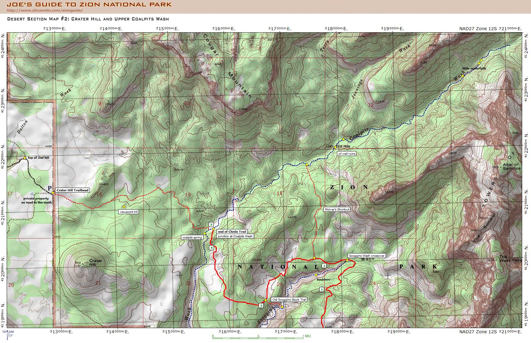 Joe's Guide to Zion National Park   Coalpits Wash Topo Map