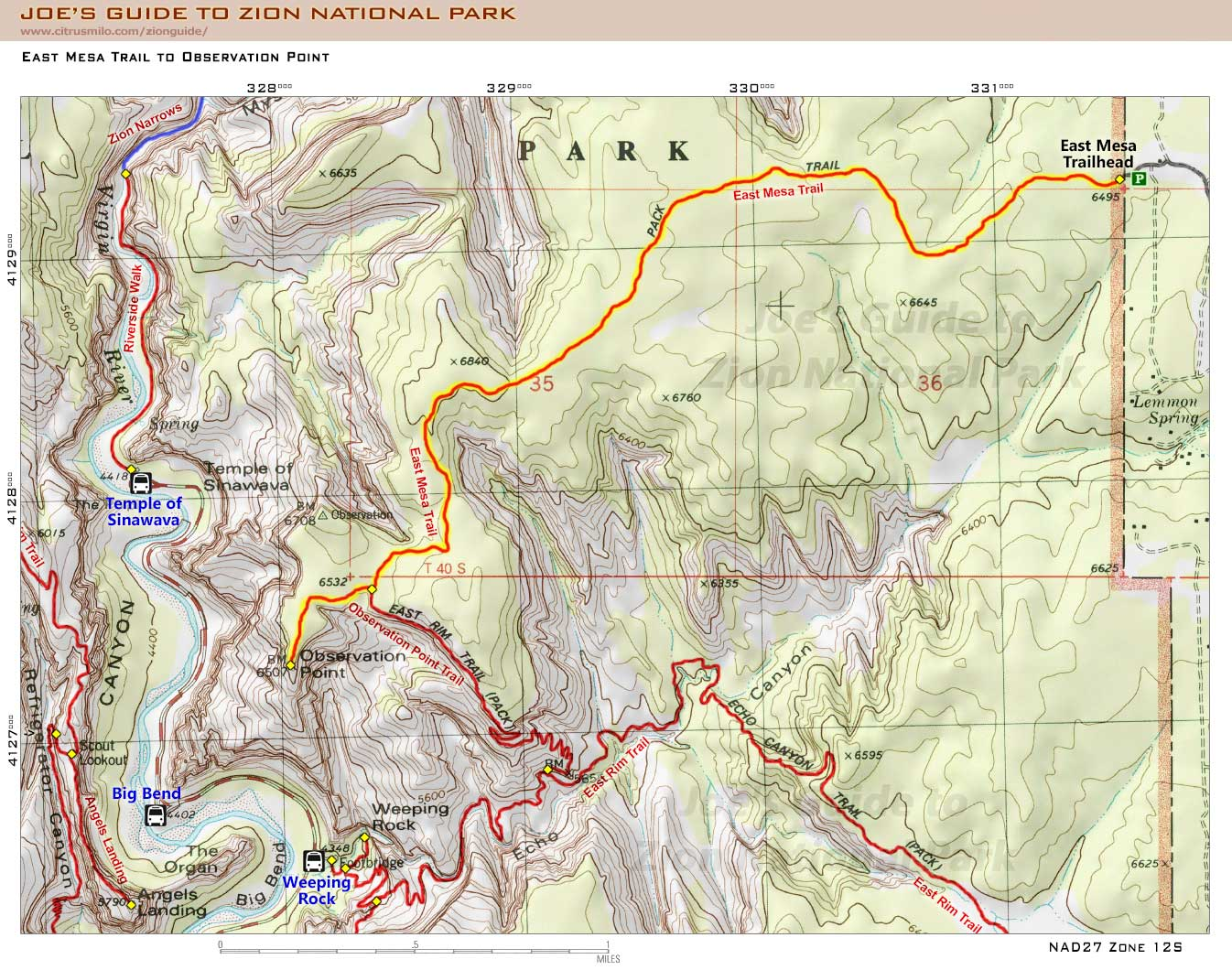 Joe Braun Topo Map For The East Mesa Trail To Observation Point