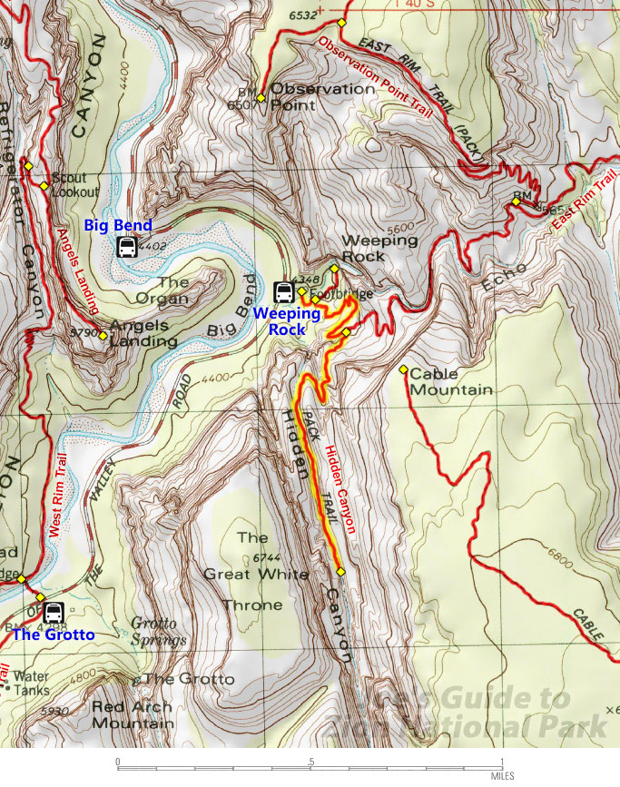 Hidden Canyon Topo Map