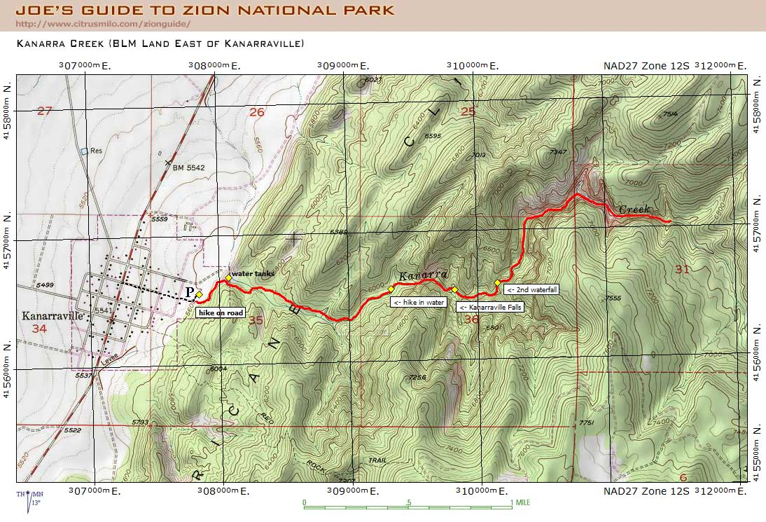 Zion National Park Topographic Map on
