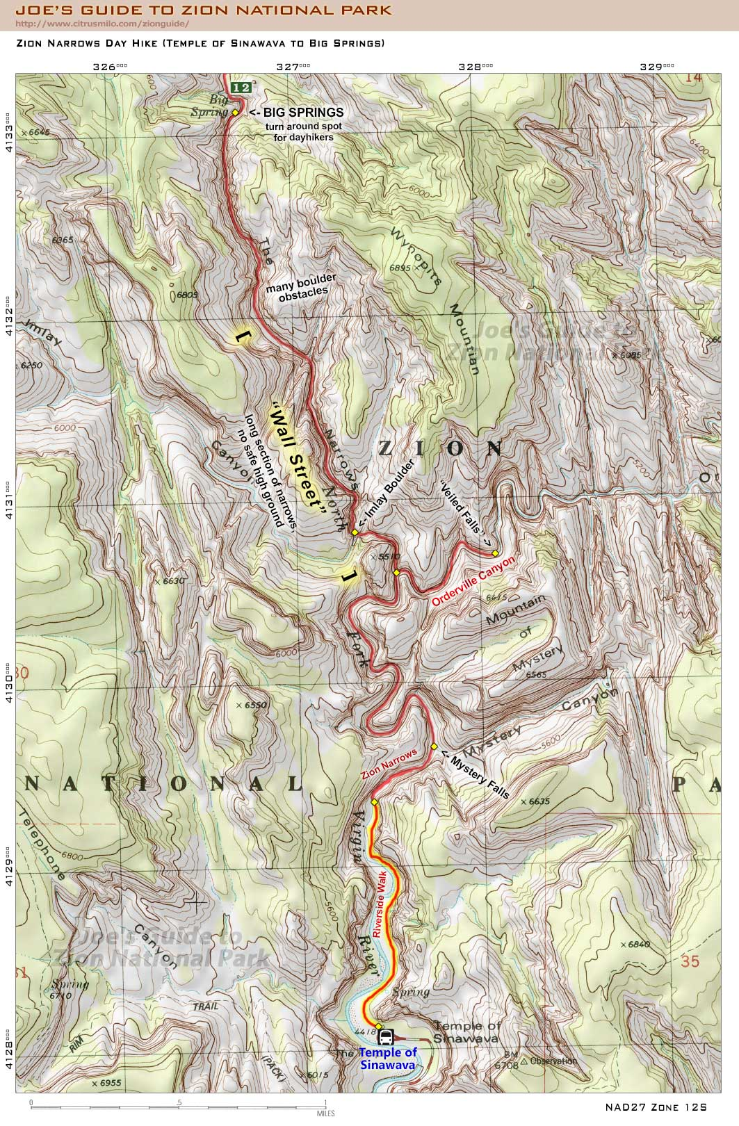 Joe's Guide to Zion National Park - Zion Narrows Day Hike Map ... on grand staircase escalante national monument map, naval station great lakes map, the narrows map, woodstock map, gilgal map, ravinia map, grand canyon trail map, arches national park map, fairfield map, evanston map, dekalb map, ancient israel map, bryce canyon map, gates of the arctic map, denali map, black canyon of the gunnison map, coral pink sand dunes map, westmont map, deerfield map, armageddon map,