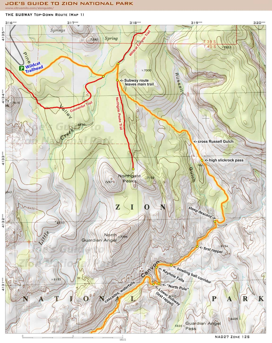 Zion National Park Subway Map
