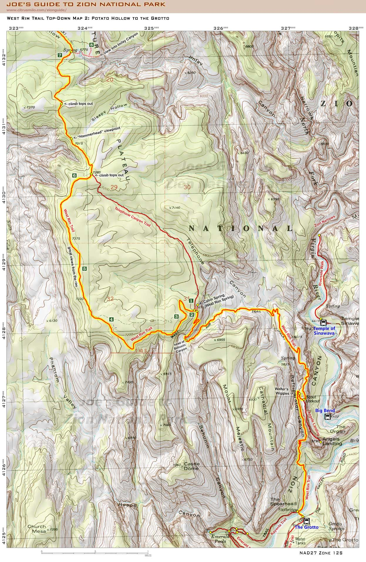 Joe's Guide to Zion National Park - West Rim Trail Top-Down Map 2 on san isabel national forest trail map, cuyamaca rancho state park trail map, white river national forest trail map, beacon rock state park trail map, colorado national monument trail map, petrified forest trail map, big cypress national preserve trail map, black mountains trail map, fishlake national forest trail map, chickasaw national recreation area trail map, zion east rim trail map, kaibab national forest trail map, capitol reef trail map, glacier national park on us map, cuyahoga valley national park trail map, yellowstone national park map, national hiking trails map, draper trail map, angels landing trail map, mt. zion utah map,