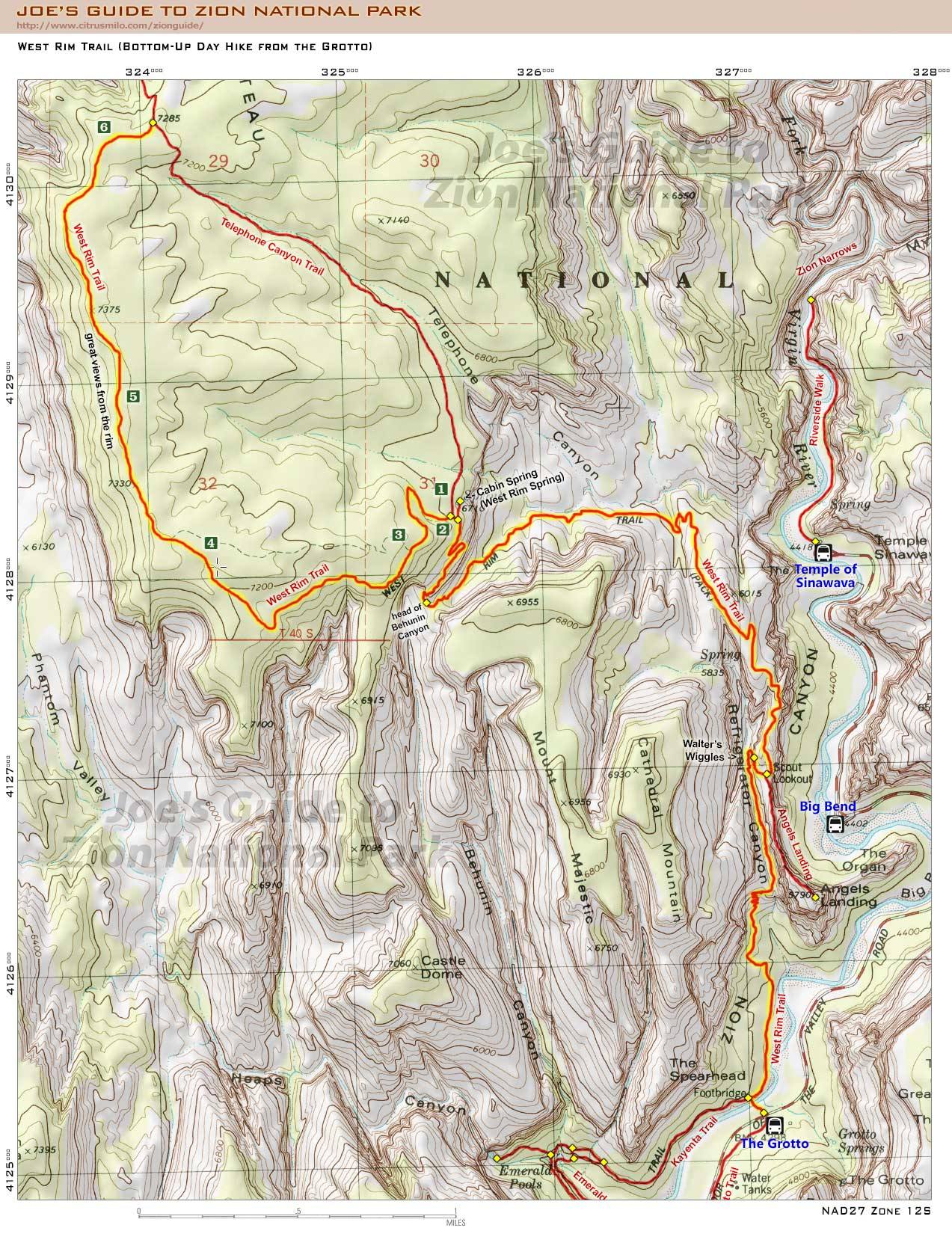 Zion National Park Hiking Map on